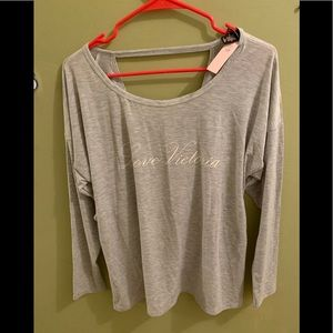 NWT Victoria's Secret gray long sleeve open back L